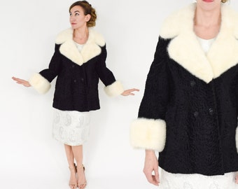 50s Black Persian Lamb Jacket | White Mink Collar & Cuffs | Large