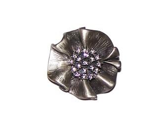 Gunmetal Brooch / Pin / Gray Flower Brooch / Pendant / Scarf Pin - Pewter - Ruffled / Rhinestone Center - GORGEOUS