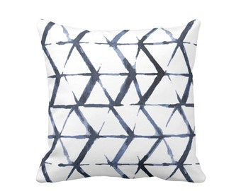 "Shadow Geometric Print Throw Pillow, Indigo Blue & White 16 or 20"" Square OUTDOOR or INDOOR Pillows, Watercolor/Hand-Dyed Effect, Dark/Navy"