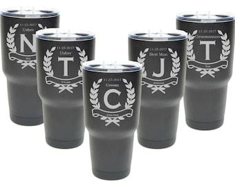 Groomsmen Tumblers, 30 oz. Black Coated Groomsmen Gift, Custom Engraved 30 oz. Tumblers, ANY QUANTITY