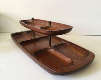 Vintage Men's Dresser Valet...Mid Century Modern Wooden Organizer...Retro Modern Desktop Caddy...Dresser Top Catch-all Tray..