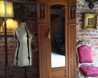 Stunning Antique Arts & Crafts Single Wardrobe Walnut Armoire Mirror Fronted