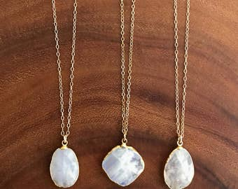 Moonstone Necklace // Moonstone Gold Necklace //