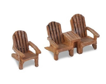 Fairy Garden   Micro Mini Adirondack Chair Set Tan   Miniature