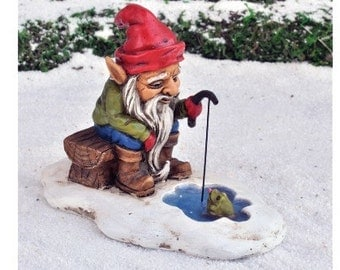 Fairy Garden  - Ice Fishing Gnome - Miniature