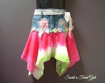 BABY DENIM SKIRT, denim party skirt, fairy skirt, 6 month 1 year old, birthday skirt, pixie skirt, boho denim skirt, pink green, hanky skirt