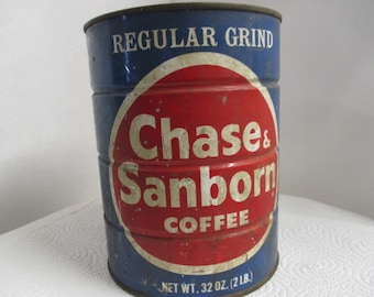 Vtg Chase Sanborn 2 lb Coffee Can, rustic light supply, distressed advertising, vintage kitchen decor, rusty junk metal Industrial decor