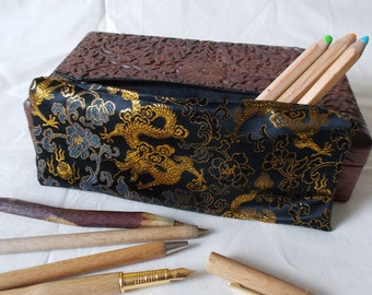 Chinese brocade pencil case black (dragon/peony pattern) 22 x 9.5cm/8.5 x 3.8in