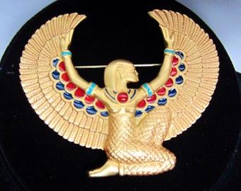Reserved  FM signed Ornate EGYPTIAN Revival winged Golden GODDESS with enameled & Carnelian pin ~Franklin Mint signed vintage costume jewelr