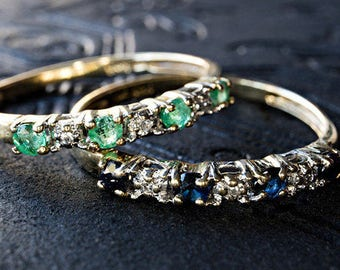 Set of Emerald, Sapphire and diamond Stacking Rings / Stacking Bands Size 10