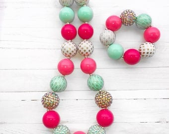 Arrow Necklace, Bubblegum Necklace, Colorful Boho Chunky Necklace, Mint and Pink Chunky Bubblegum Boutique Jewelry, Whimsical Jewelry