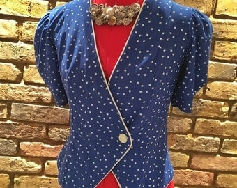 1980's Gorgeous Blue Crossover Top | True Vintage | UK 10-12 | Funky Retro!