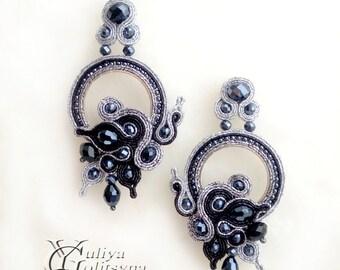 Soutache Statement black earrings Soutache jewelry Black soutache