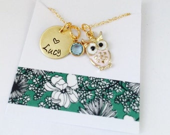 Little Girls Necklace, Owl Necklace, Owl Name Necklace, Personalized Owl Necklace, Kids Jewelry, Hand Stamped Kids Necklace