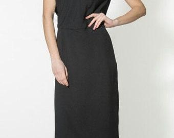 Black midi dress Summer evening dress Easy simple dress Occasion wear for women