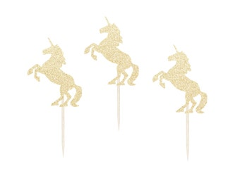 Unicorn Cupcake Toppers - Any Color Glitter