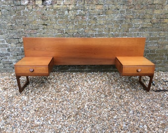 1960s Midcentury teak bed head by white and Newton bedside cabinets headboard Midcentury bedroom teak bed head teak headboard teak bedsides