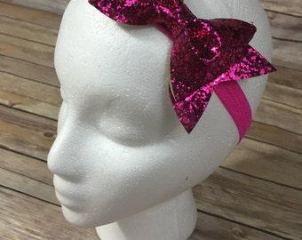 Hot pink glitter bow headband