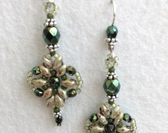 Green Vintage Inspired Crystal Beaded Earrings