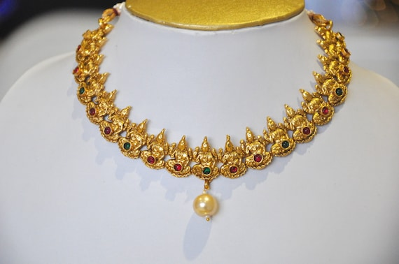 Antique gold temple lakshmi design Indian necklace with earrings | Indian Jewellery | Indian Necklace | Temple Jewelry