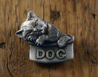 Dog Bowl Cat Brooch