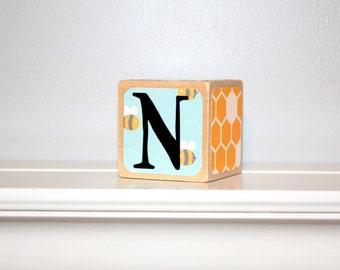 Custom Baby Name Blocks -  Bumble Bee Theme - Baby Shower Gift - Newborn Photo - Wood Blocks - 2 Inch