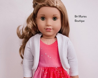 18 inch doll clothes AG doll clothes White & silver cardigan made to fit like American Girl doll clothes