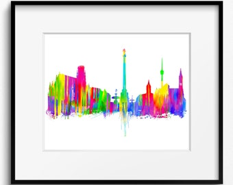 Stuttgart Skyline Watercolor Art Print (644) Cityscape Germany