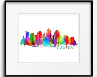 Austin Skyline Watercolor Art Print (006)