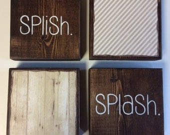 Bathroom Wall Decor | Set Of 4 - 5.5 x 5.5 in Wood Blocks| Splish Splash | Rustic Bathroom Wall Decor | Bath Decor