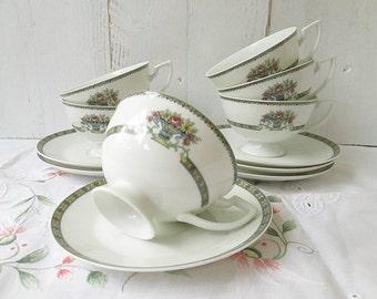 Vintage Bavaria tea cups, set of 6, vintage teacups, porcelain, bridal shower, floral teacups and saucers.