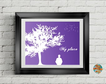 My place, purple background, Printable poster, Wall art decor, Inspirational