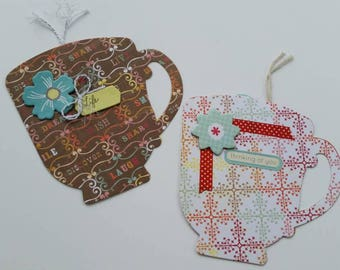 Multicolor Pattern and Sayings Tea Cup Cards with Tag