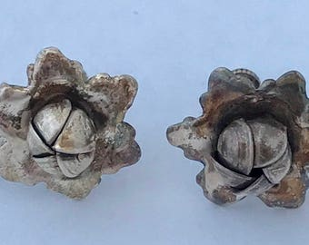 Sterling Silver Vintage Flower Buds Bloom-Shaped  Screw Back Earrings