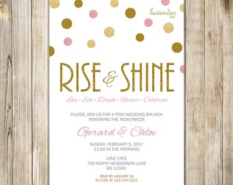 Pink Gold RISE and SHINE Post-WEDDING Brunch Invitation, Gold Glitters The Morning After Breakfast Invite, Just Married, Digital Printable