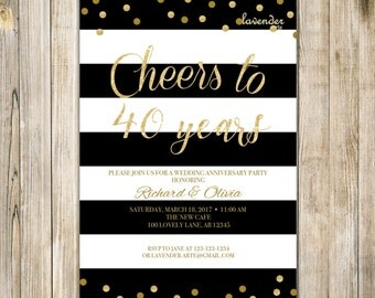 40th WEDDING ANNIVERSARY Invitation, MARRIAGE Anniversary Invite, 40th Anniversary Party Invitations, Cheers to 40 years, Vow Renewal