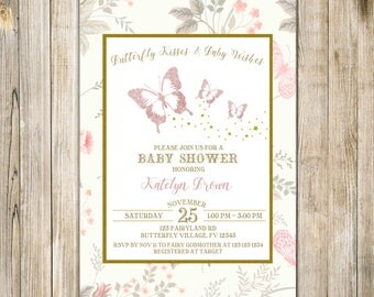 Gold Pink BUTTERFLY Kisses BABY SHOWER Invitation, Floral Baby Girl Shower Brunch Invite, Rustic Butterflies Baby Sprinkle, Garden Tea Party