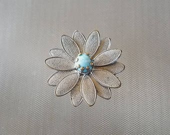 Vintage Silver Flower Blue Bead  Brooch Pin 1 1/2""