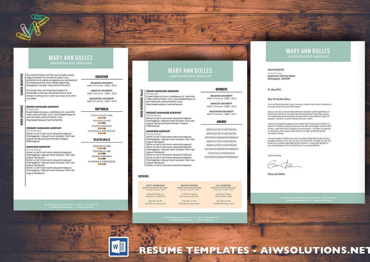 Resume /CV Template Cover Letter for MS WordCurriculum