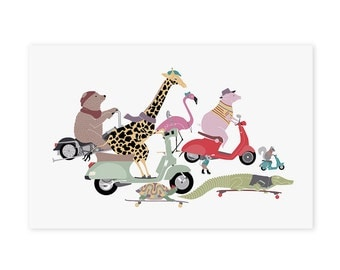 Animals on Scooters Art Print