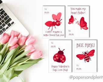 DIGITAL FILE - Printable Bug Valentine Cards for Kids (DIY) set of 4 | Insect Valentine Cards | Kid's Valentine Cards| Animal