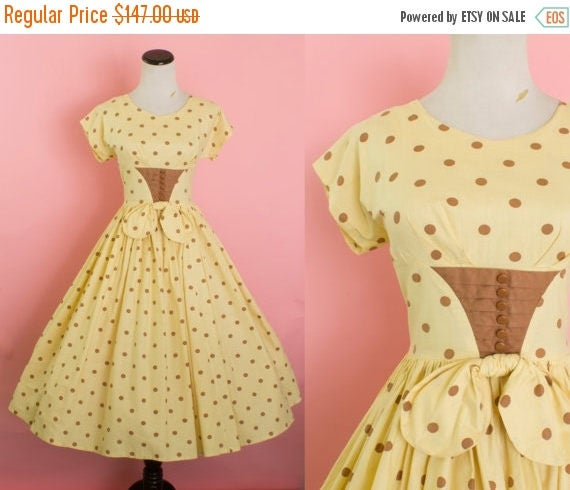 SALE 15% STOREWIDE 1950s cotton polka dot dress/ 50s yellow sundress/ small
