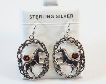 Balinese Garnet  Horse Design Earrings