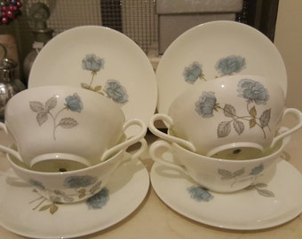 Set of 4 Wedgwood Soup Bowls and Side Plates