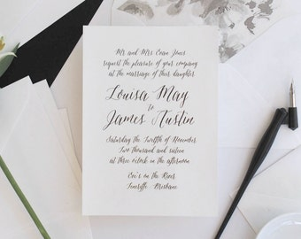 Print-It-Yourself Calligraphy Wedding Invitations, Black and White Wedding Invitations -- Louisa