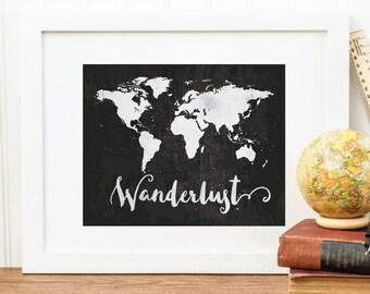 SALE Wanderlust print large world map watercolor world map world map print world map poster travel map wall art Home Decor Smilecrush Art