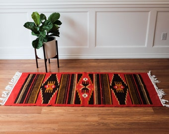 Vintage Native American Southwest Rug - Beautiful Bohemian geometric design, boho, mid century mod