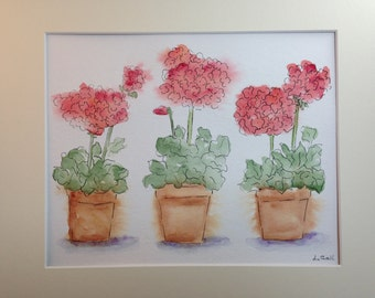 Geranium flowers potted original watercolor painting matted and signed