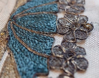 Beautiful 1900s embroidered black, gold & teal silk dress applications, costume design, couture, art deco, vintage design millinery