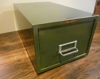Industrial Metal Card File Cabinet Green Asco Steelmaster